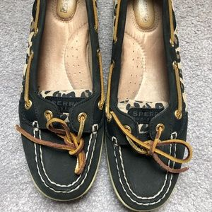 Black and Leopard Sperrys boat shoes